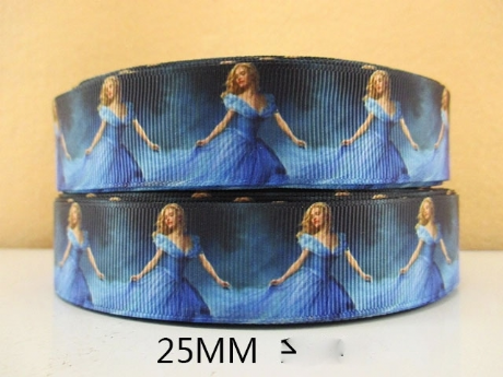 1 METRE NEW CINDERELLA THE MOVIE RIBBON SIZE 1 INCH BOWS HEADBANDS CLIPS BIRTHDAY CAKE